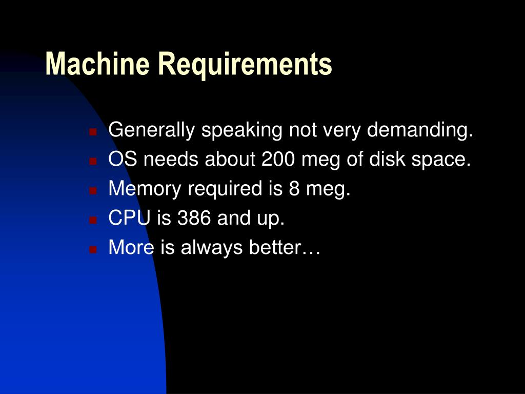 Machine Requirements