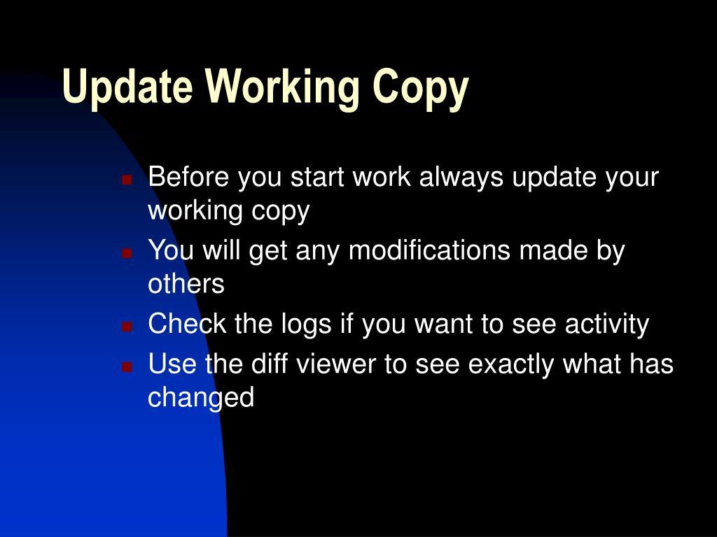 Update Working Copy