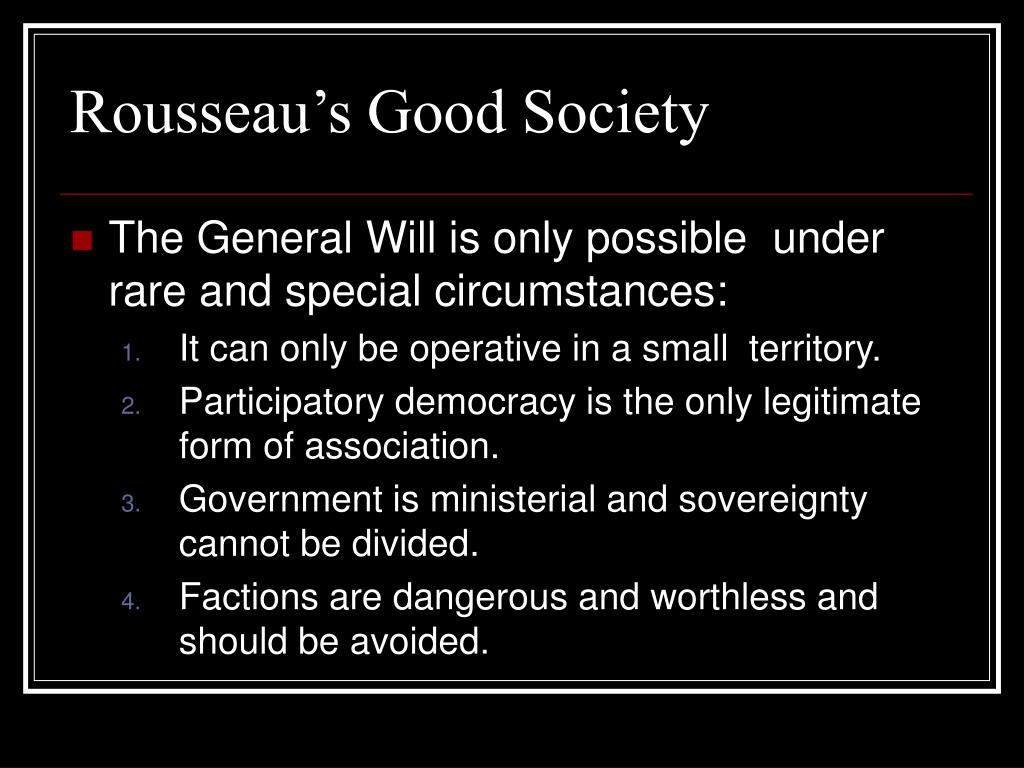 Rousseau's Good Society