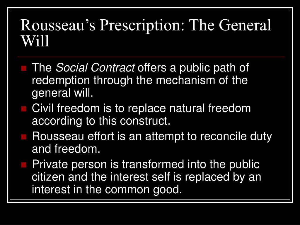Rousseau's Prescription: The General Will