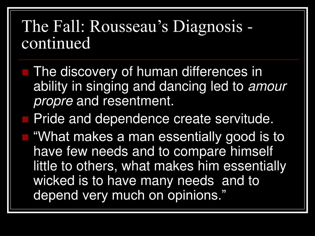 The Fall: Rousseau's Diagnosis - continued