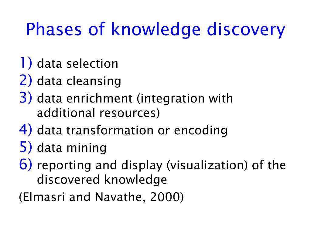 Phases of knowledge discovery