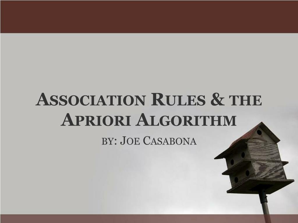 a ssociation r ules the a priori a lgorithm