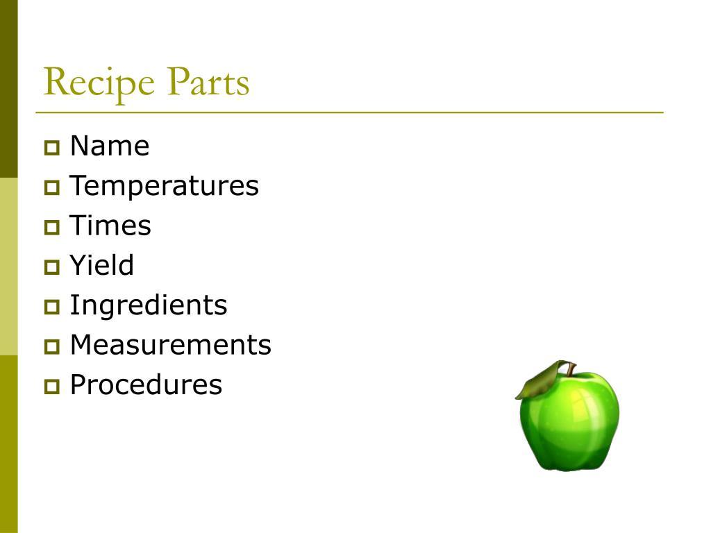 Recipe Parts