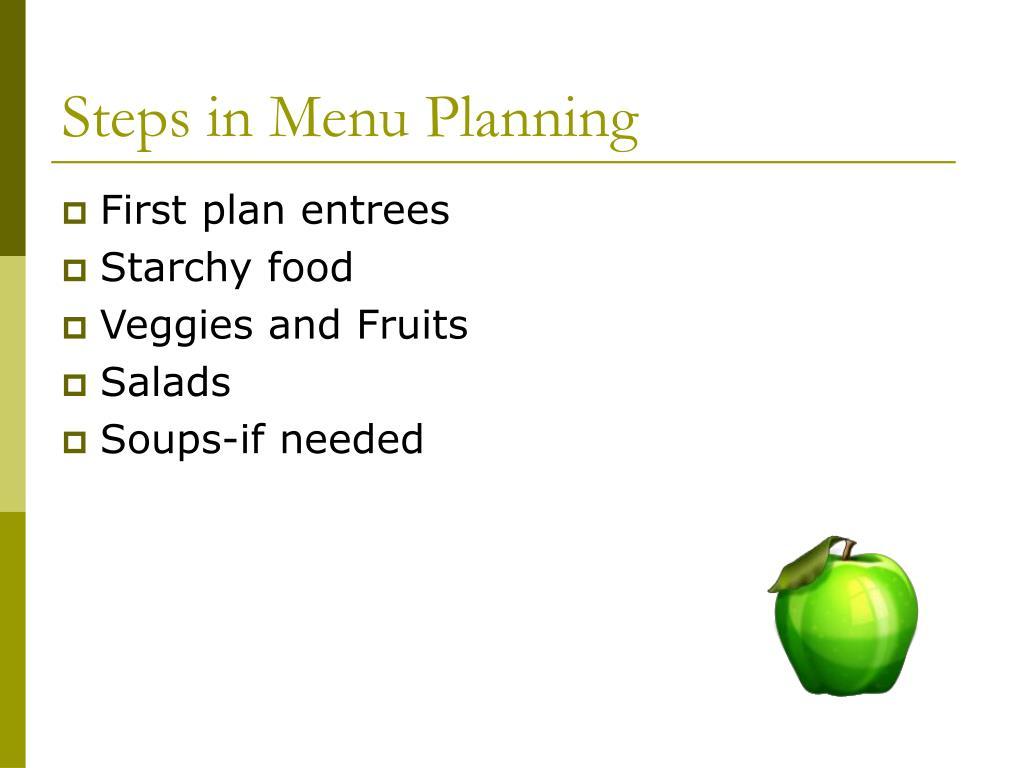 Steps in Menu Planning