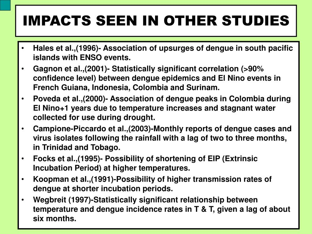 IMPACTS SEEN IN OTHER STUDIES