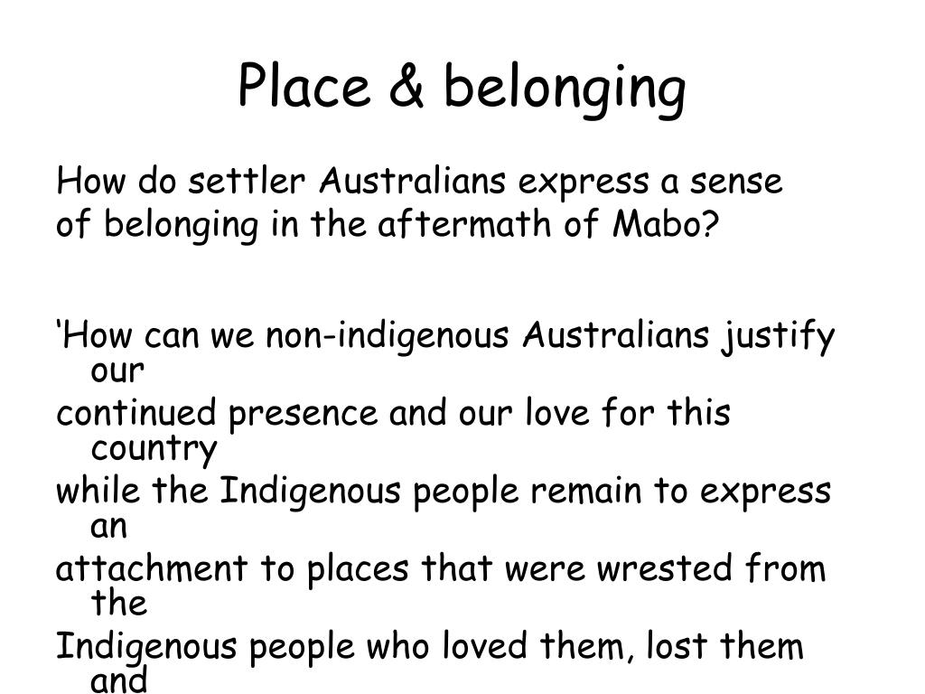 Place & belonging