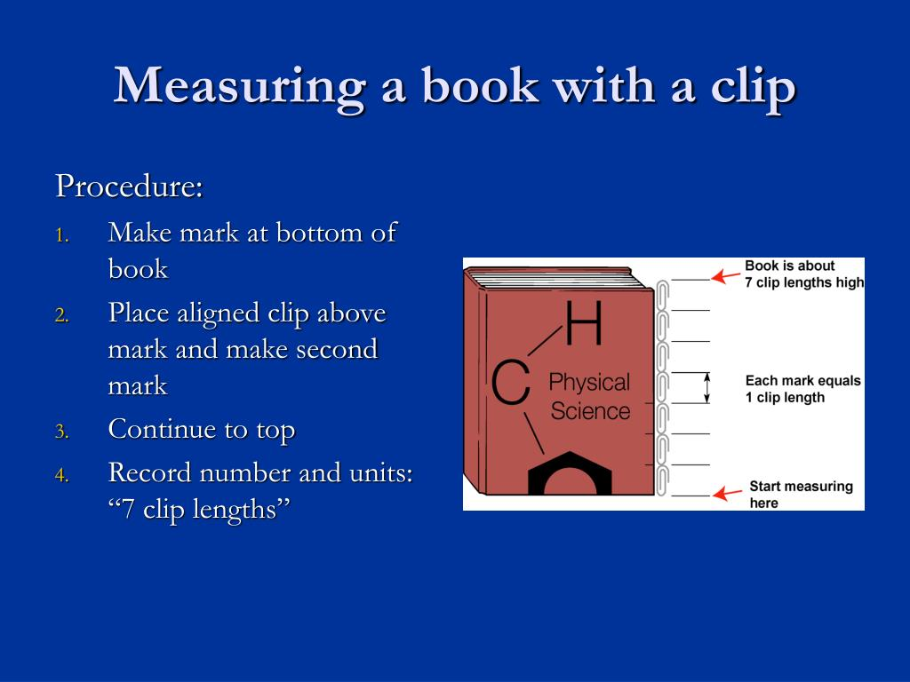 Measuring a book with a clip