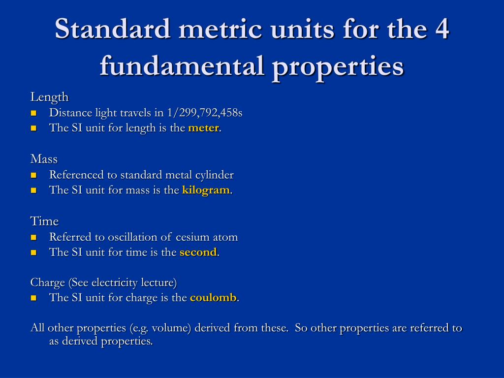 Standard metric units for the 4 fundamental properties