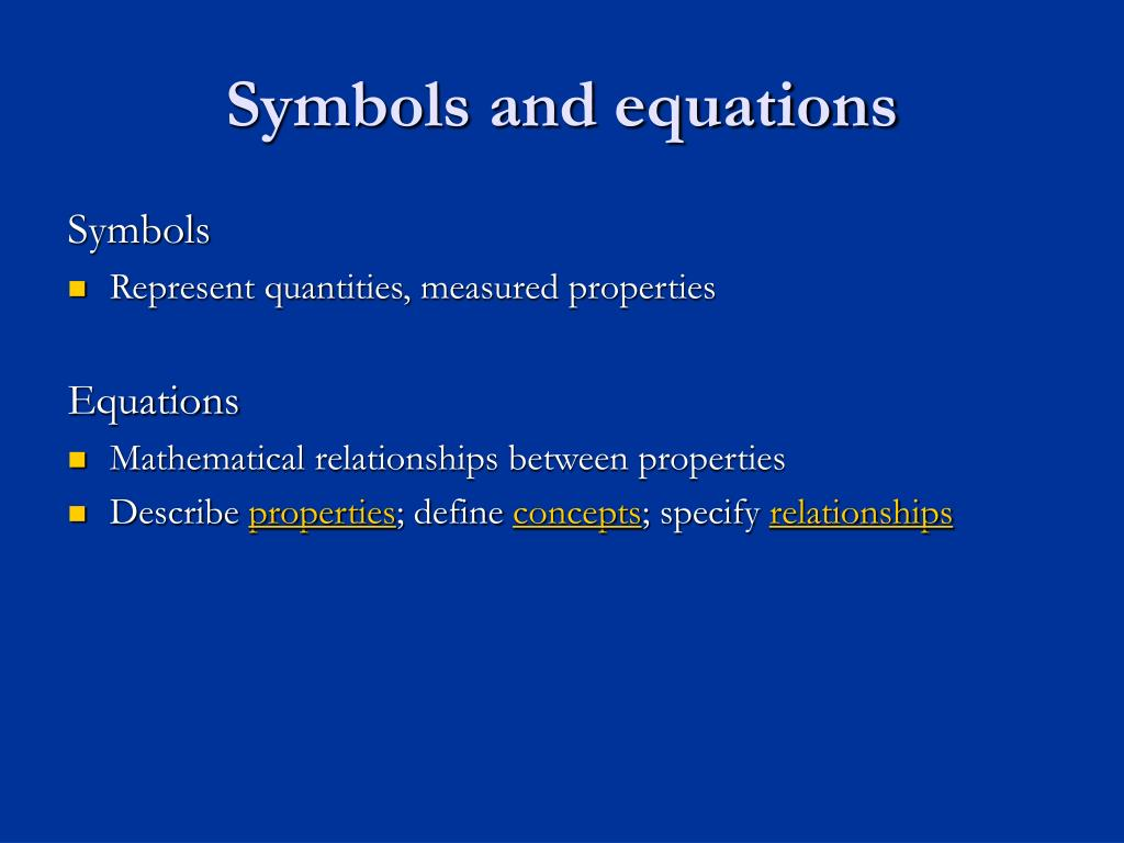 Symbols and equations