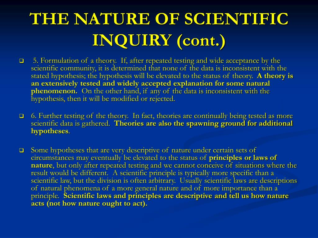 THE NATURE OF SCIENTIFIC INQUIRY (cont.)