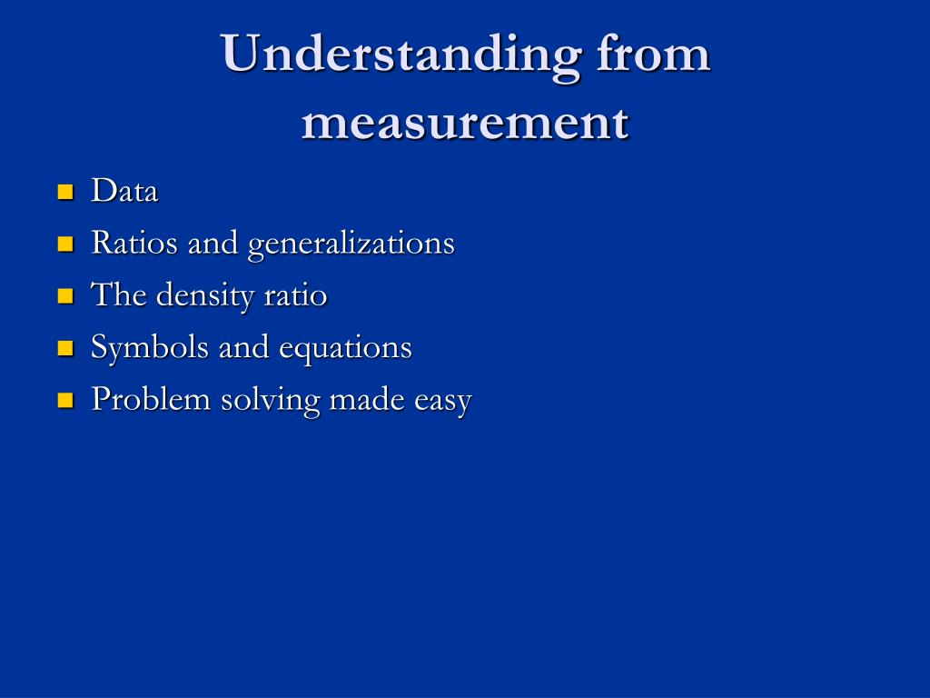 Understanding from measurement