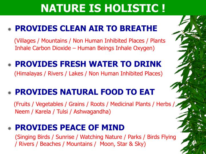 NATURE IS HOLISTIC !