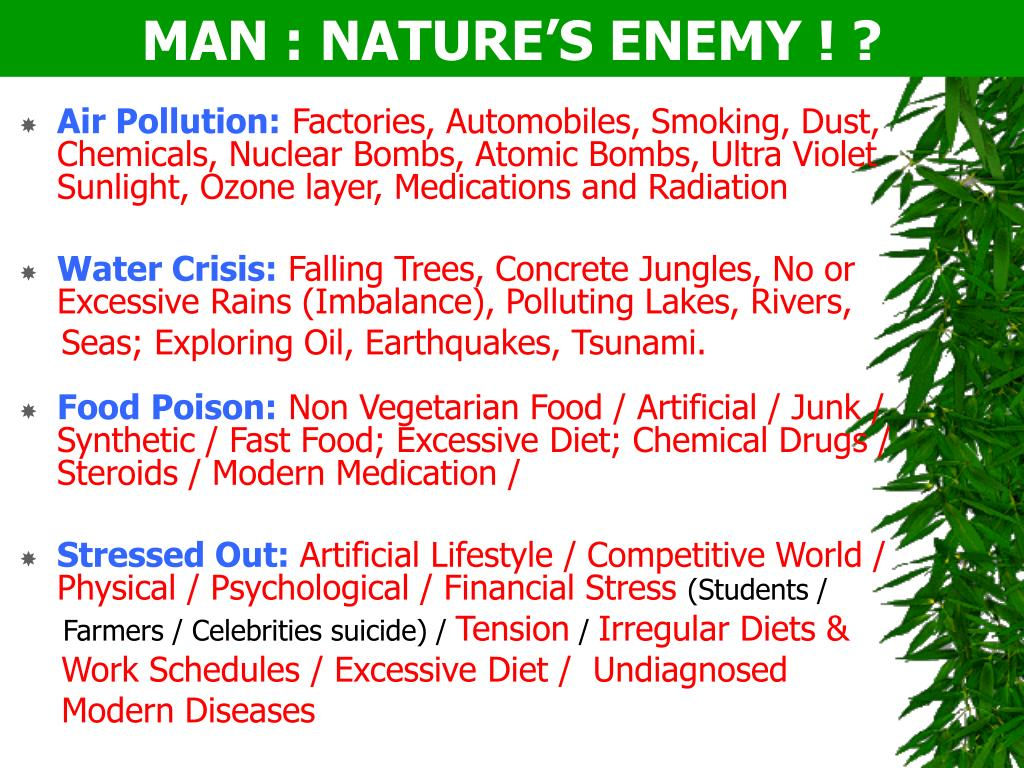 MAN : NATURE'S ENEMY ! ?