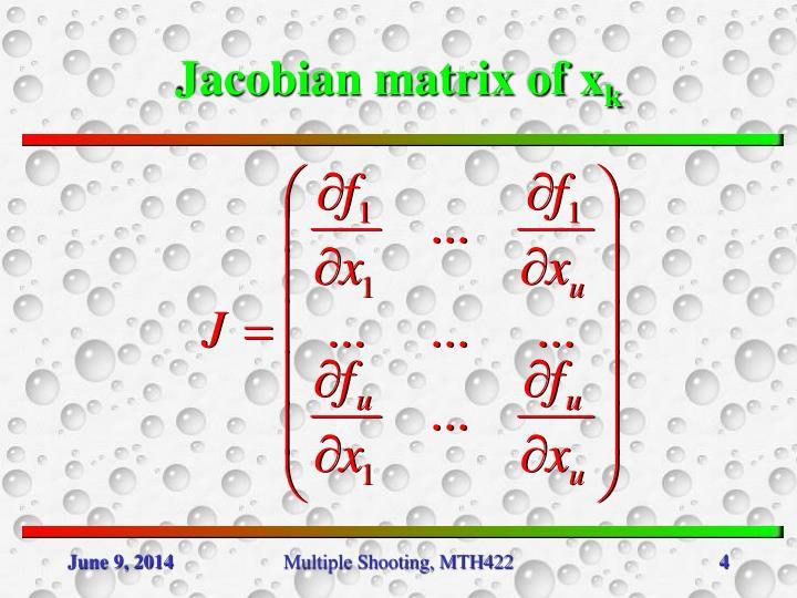 Jacobian matrix of x