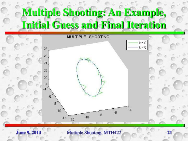 Multiple Shooting: An Example, Initial Guess and Final Iteration