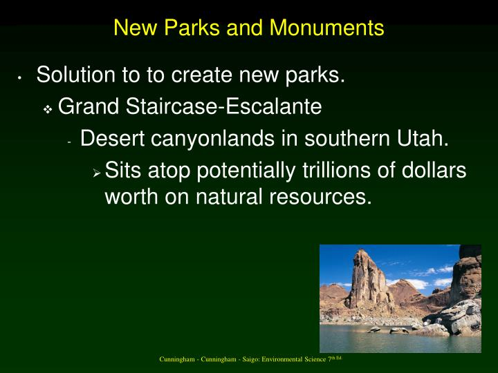 New Parks and Monuments