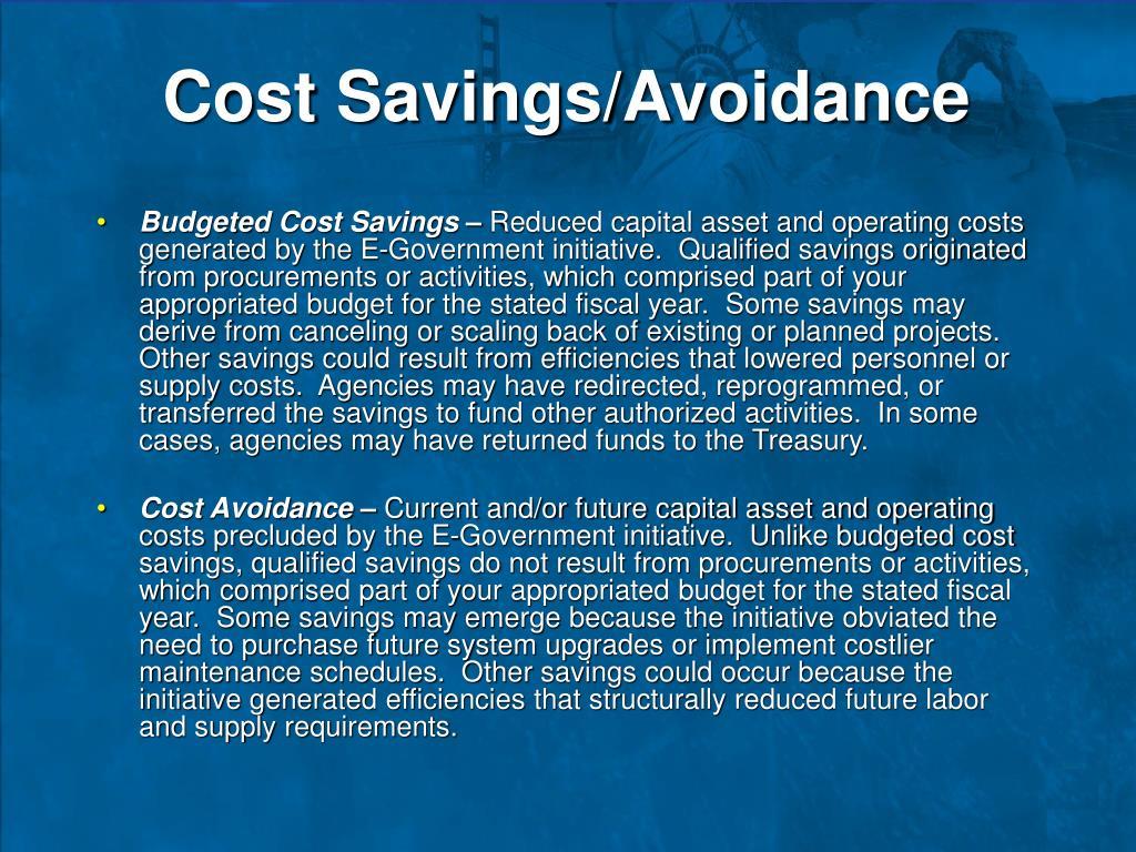 Cost Savings/Avoidance