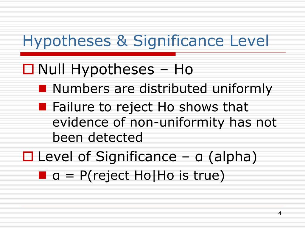Hypotheses & Significance Level