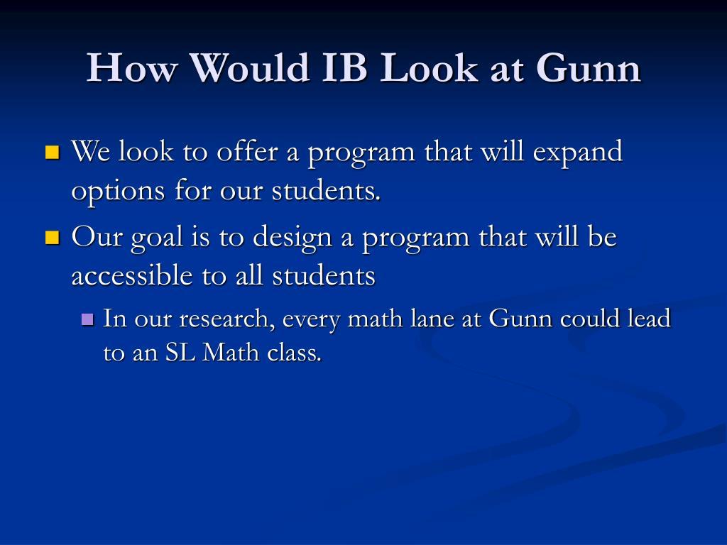 How Would IB Look at Gunn