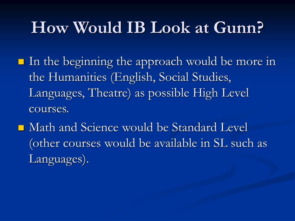 How Would IB Look at Gunn?