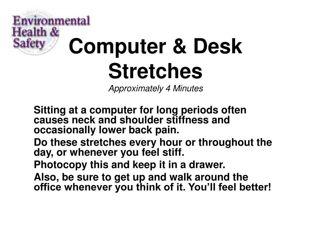 computer desk stretches approximately 4 minutes