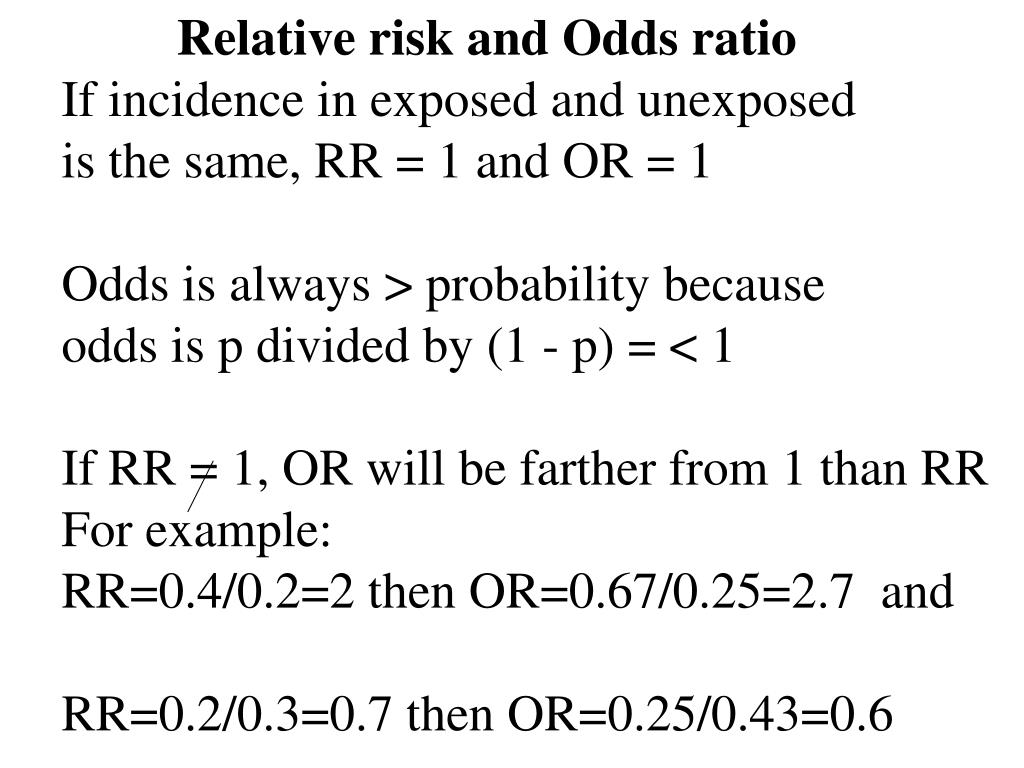 Relative risk and Odds ratio