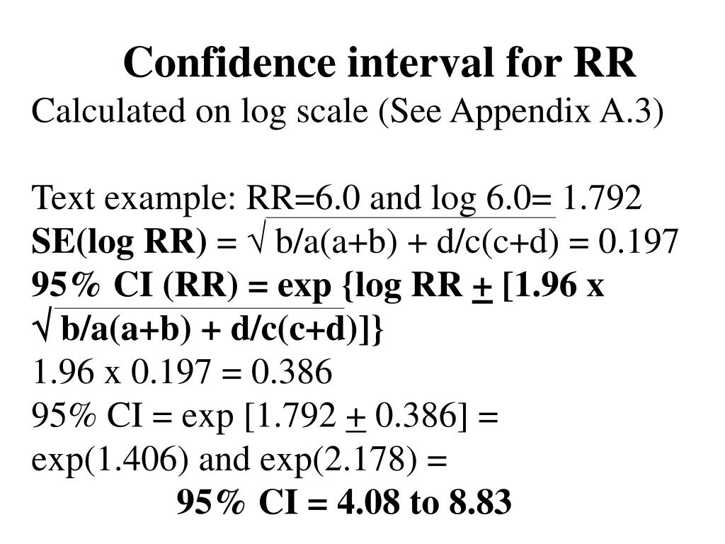 Confidence interval for RR