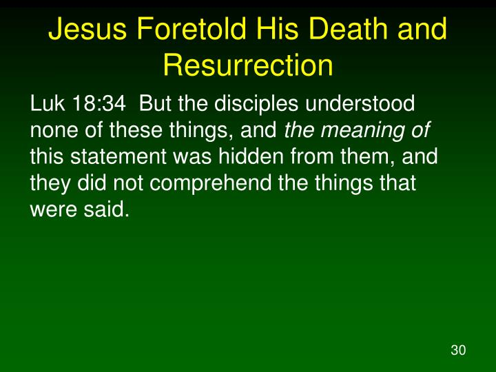 Jesus Foretold His Death and Resurrection