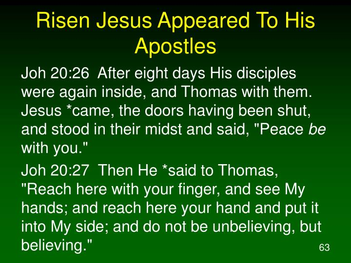 Risen Jesus Appeared To His Apostles