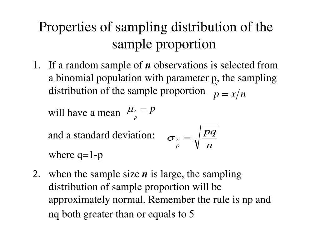 Properties of sampling distribution of the sample proportion