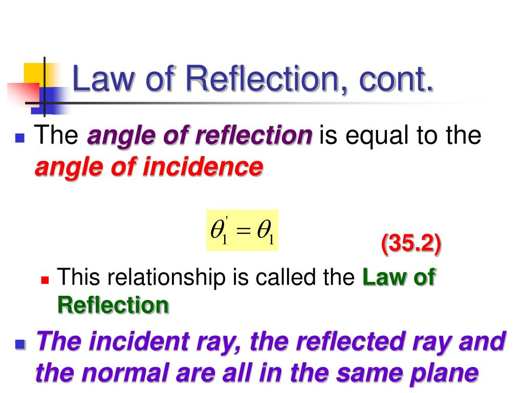Law of Reflection, cont.