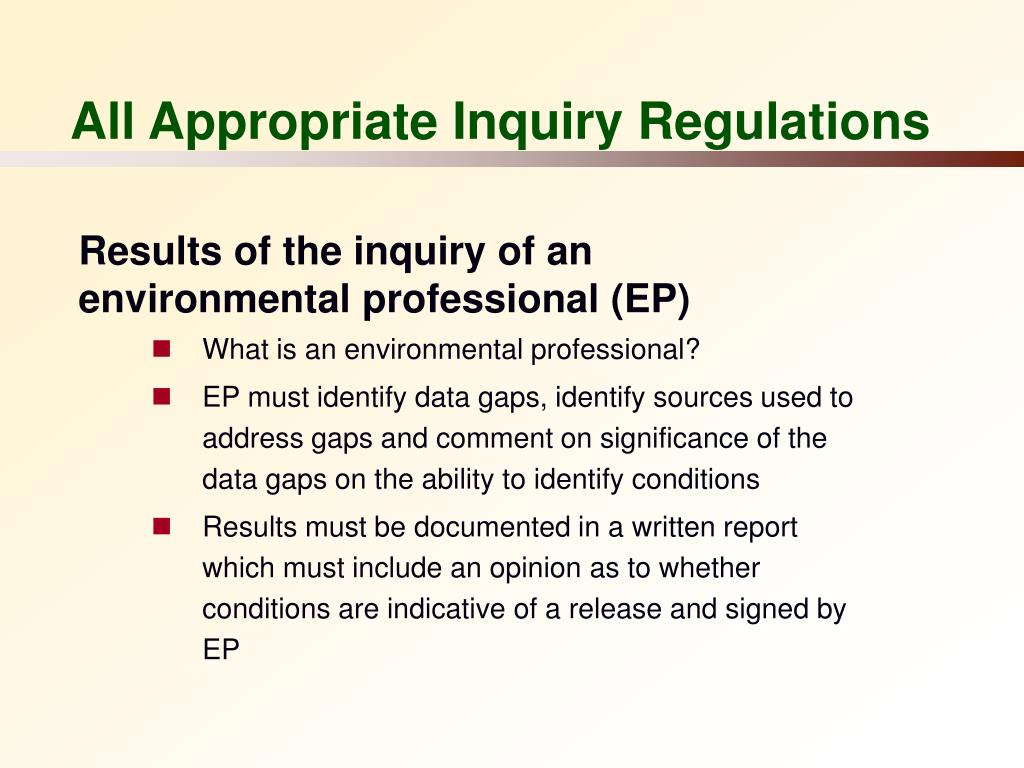 All Appropriate Inquiry Regulations