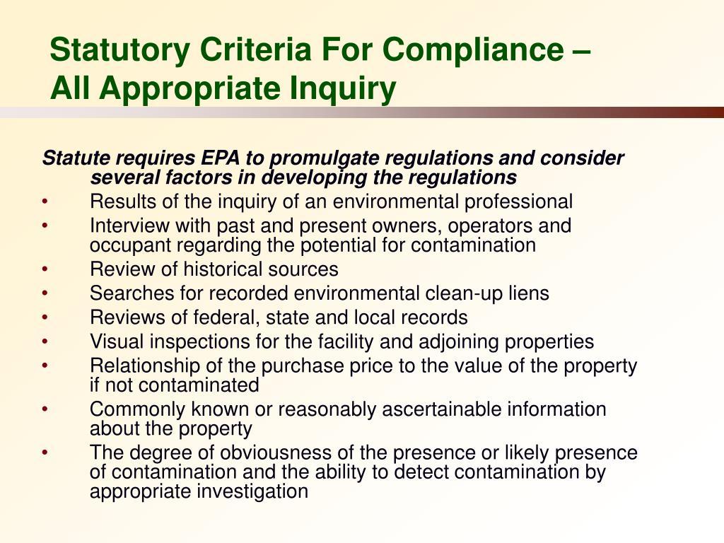 Statutory Criteria For Compliance –