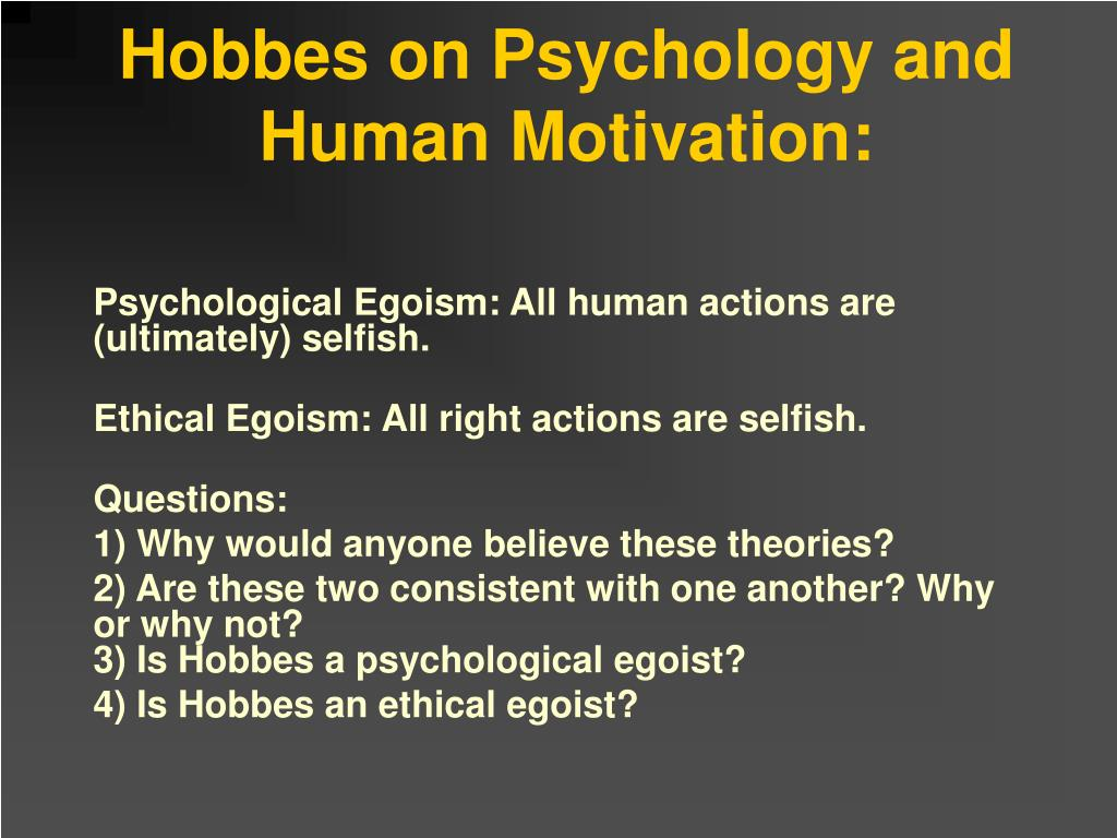 Hobbes on Psychology and Human Motivation: