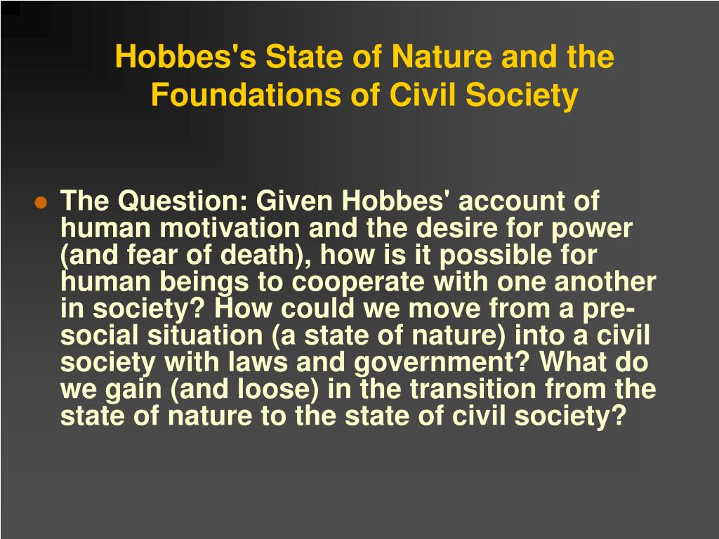 Hobbes's State of Nature and the Foundations of Civil Society