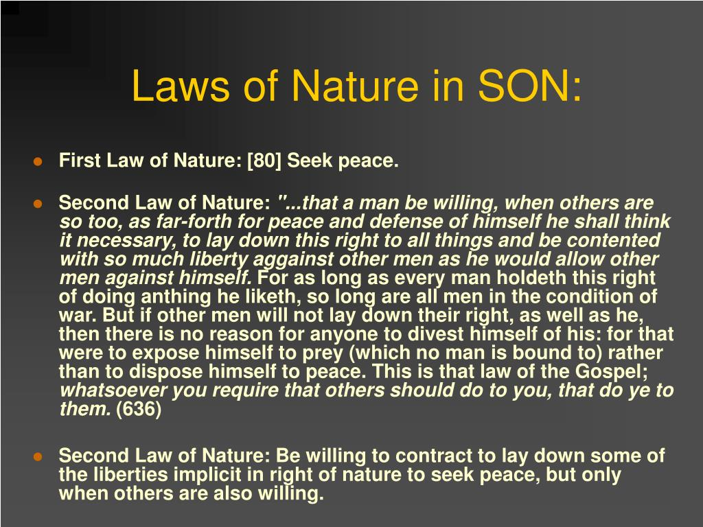 Laws of Nature in SON: