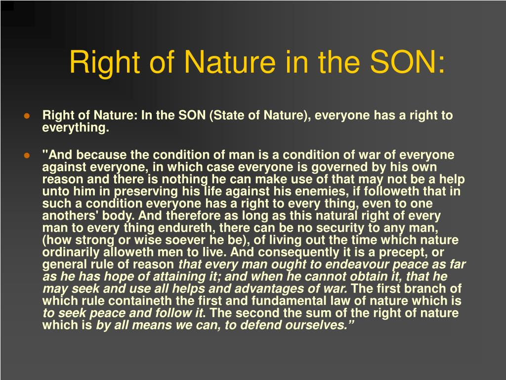 Right of Nature in the SON: