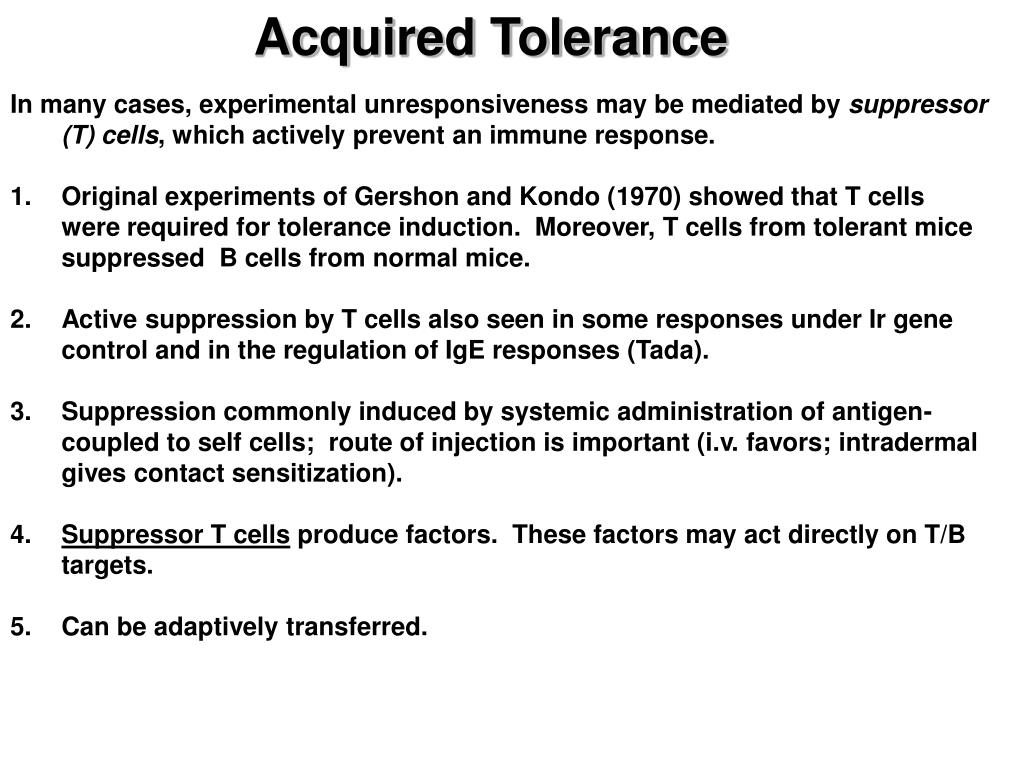 Acquired Tolerance