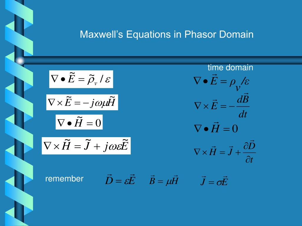 Maxwell's Equations in Phasor Domain