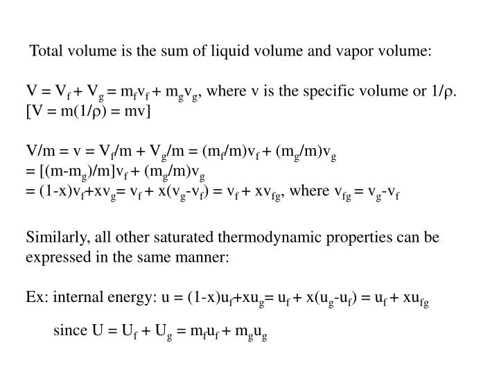 Total volume is the sum of liquid volume and vapor volume: