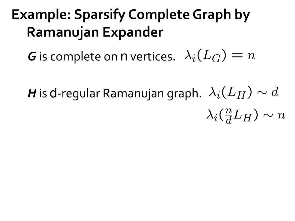 Example: Sparsify Complete Graph by