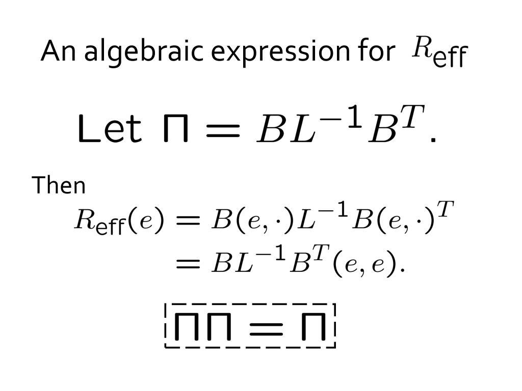 An algebraic expression for
