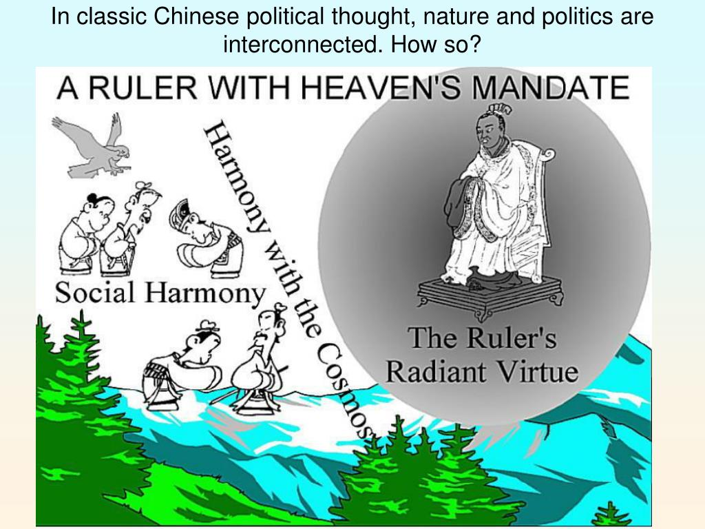 In classic Chinese political thought, nature and politics are interconnected. How so?