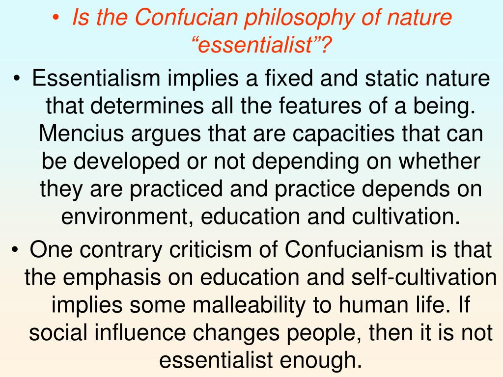"""Is the Confucian philosophy of nature """"essentialist""""?"""