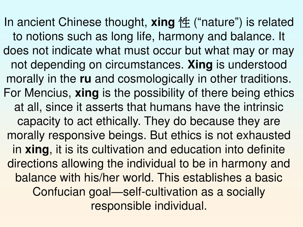 In ancient Chinese thought,