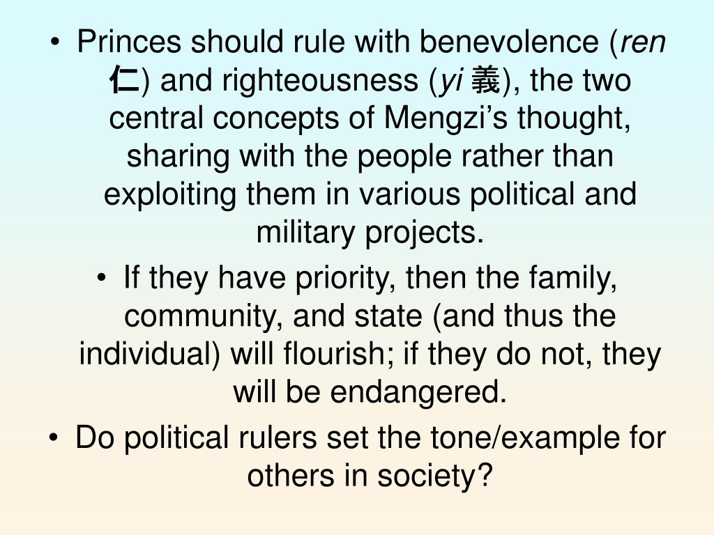 Princes should rule with benevolence (