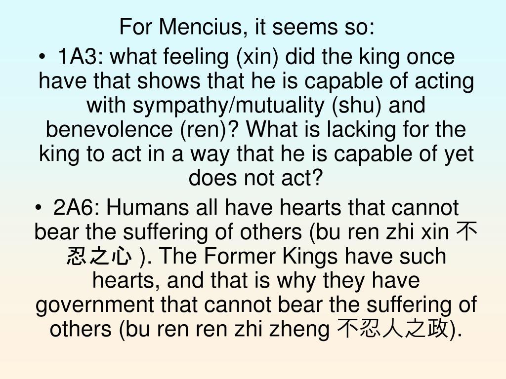 For Mencius, it seems so: