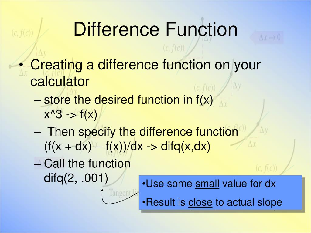 Difference Function