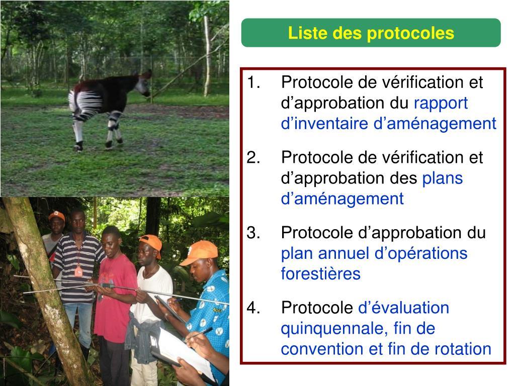Liste des protocoles